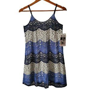 Honey and Rosie White/Blue Lace Lined Mini Dress